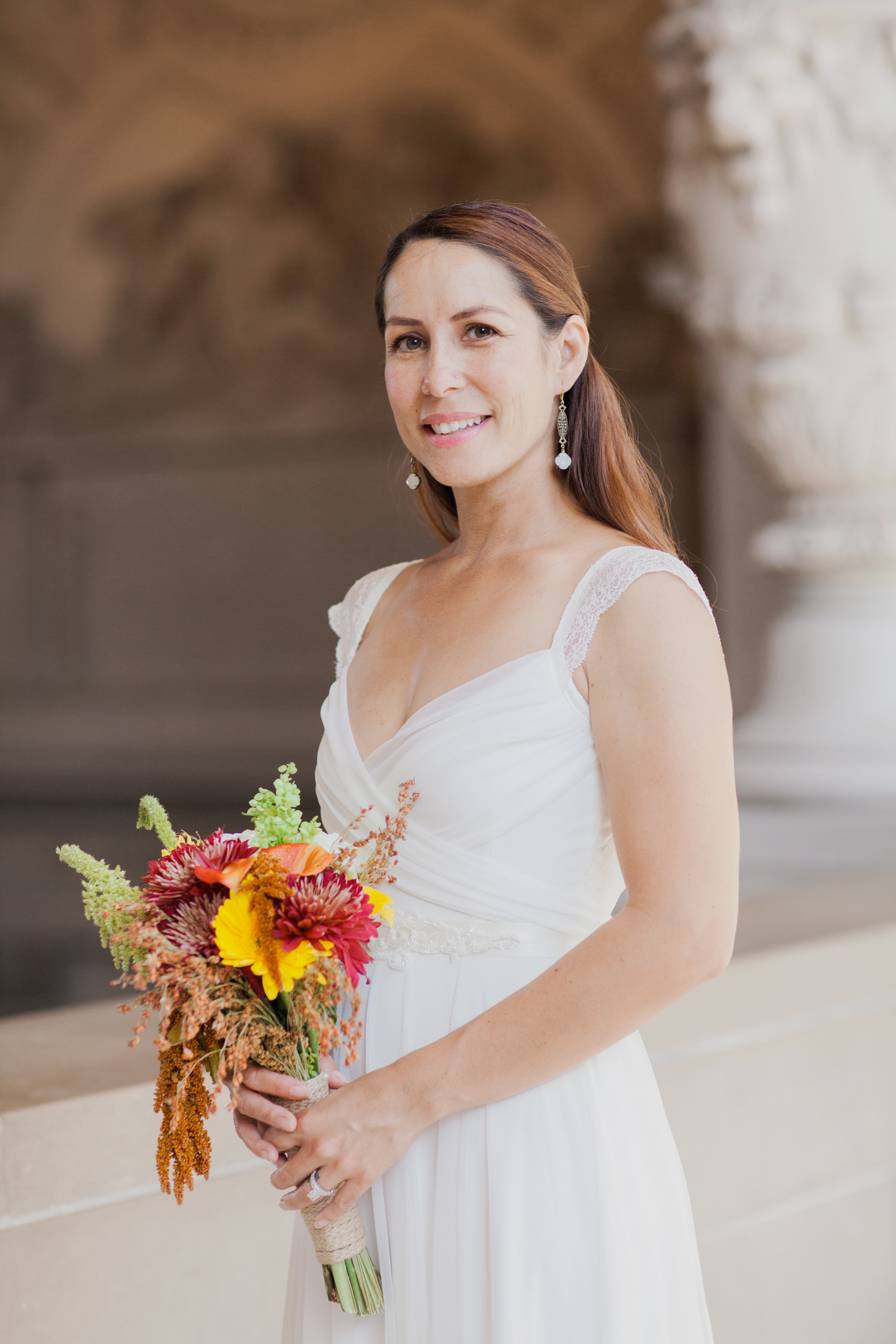 Portrait of classic bride after eloping in San Francisco City Hall.
