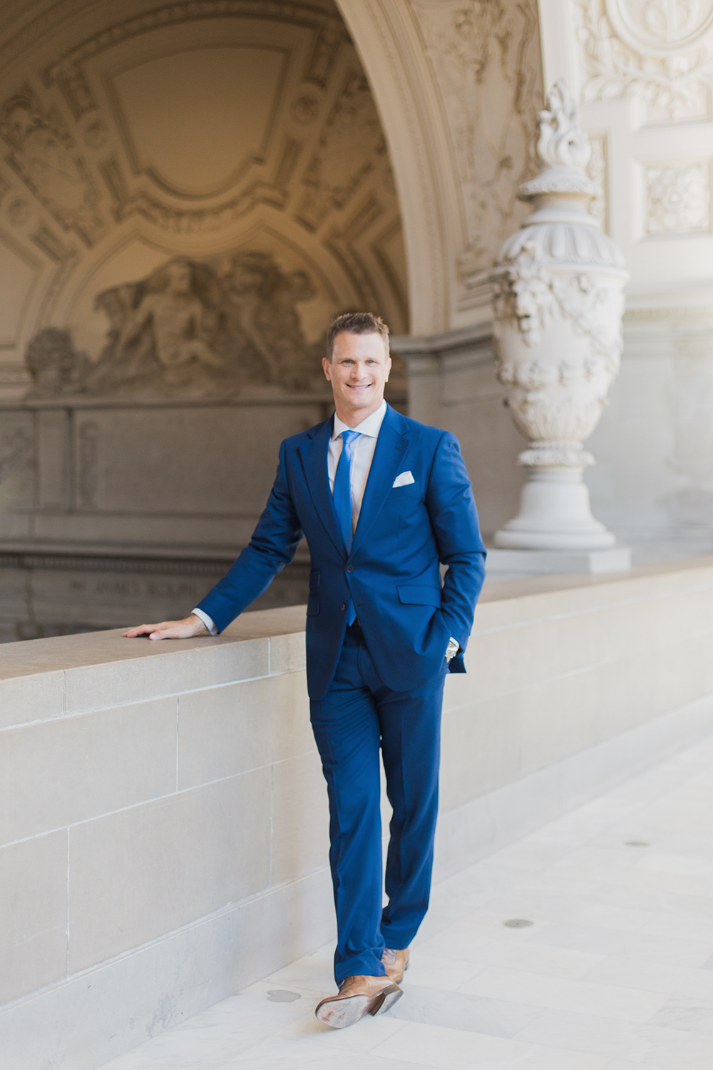 Portrait of groom during his wedding in San Francisco City Hall.