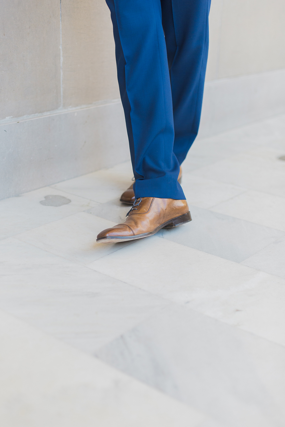 Groom shoes during his wedding in San Francisco City Hall.