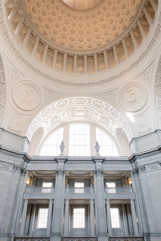 Empty interior of San Francisco City Hall after a wedding.