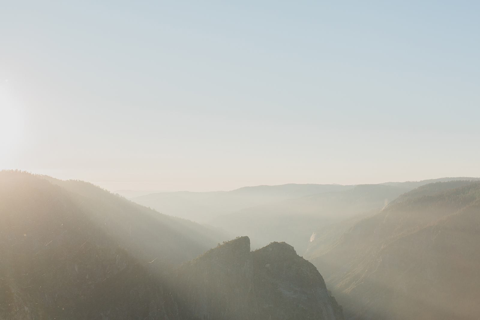 View of mountains during Miguel and Dulce's engagement session in Yosemite National Park.