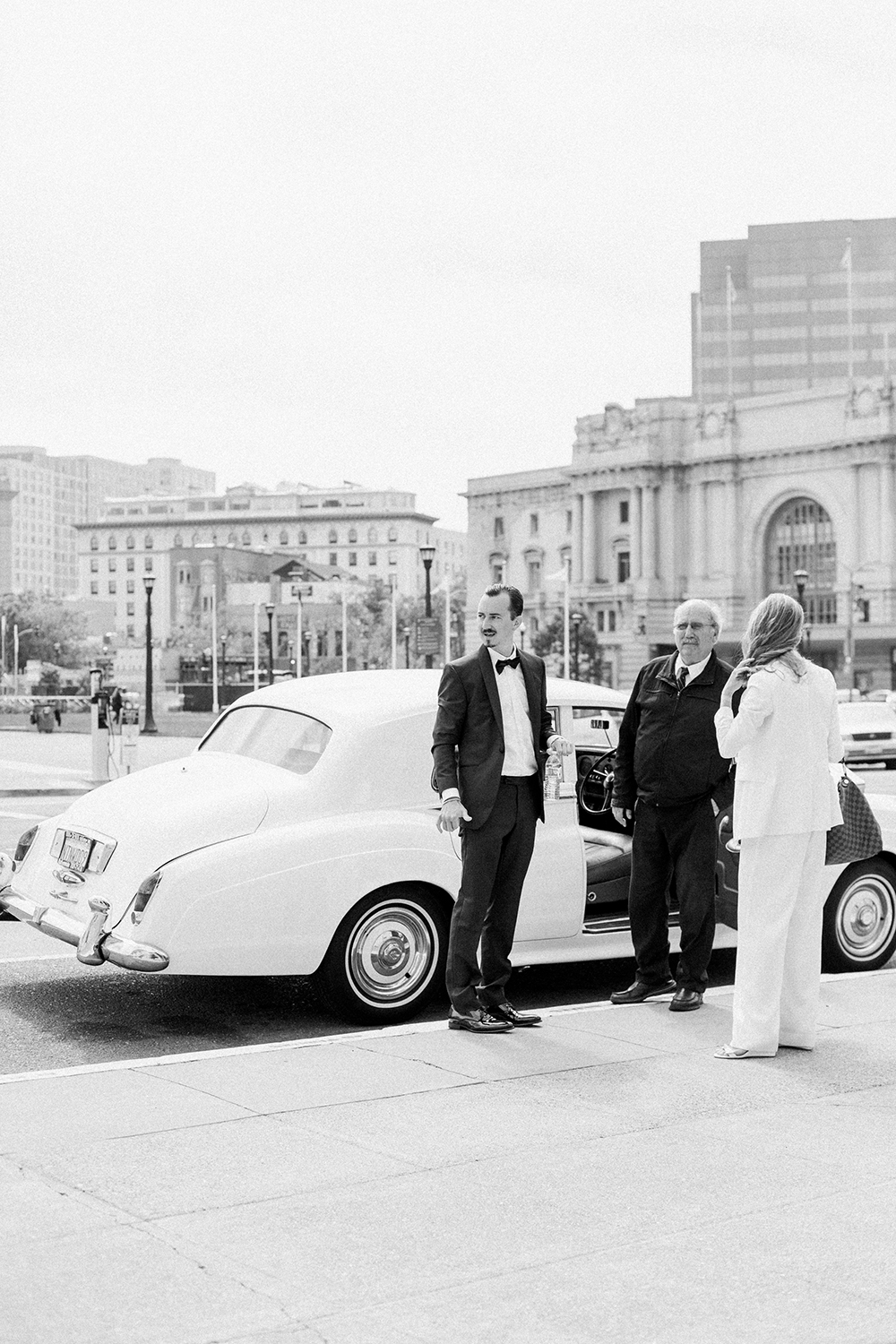 Chris and Claire arriving in Rolls Royce to their San Francisco City Hall wedding.