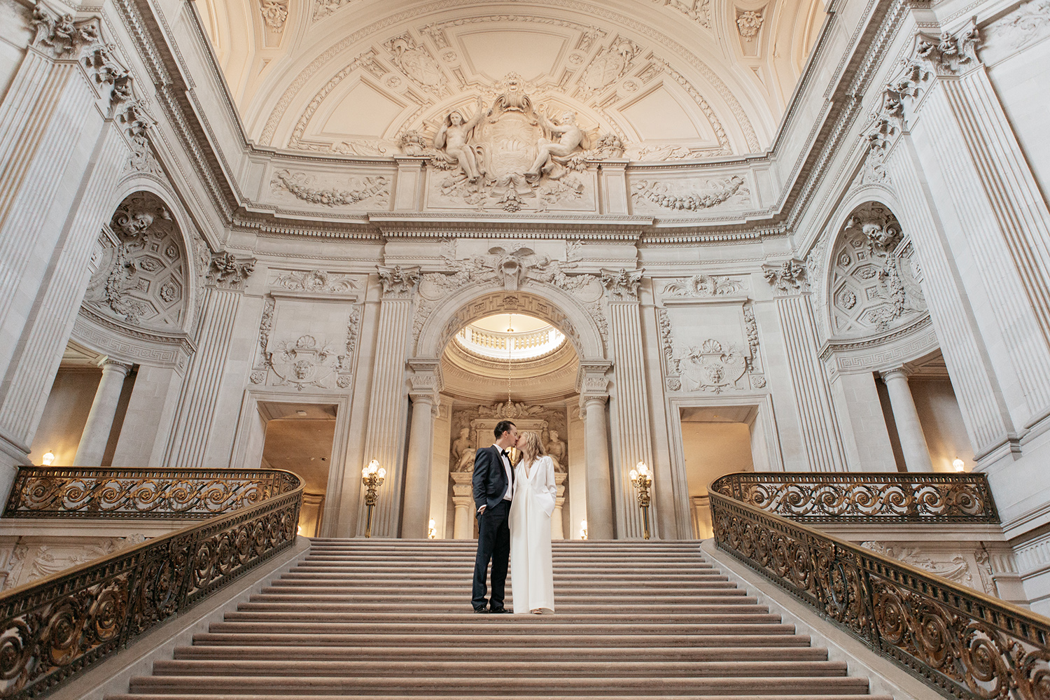 Stunning portrait of classic bride and groom during their San Francisco City Hall wedding.