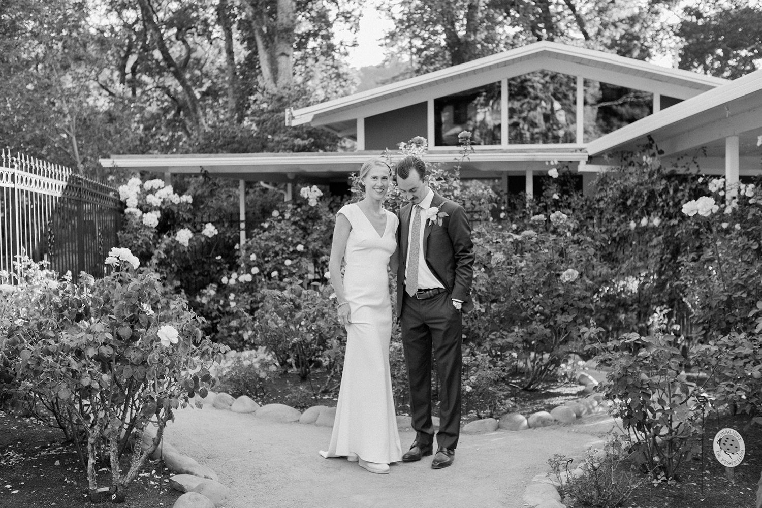Chris and Claire's wedding portraits at Marin Art and Garden Center in Marin California.
