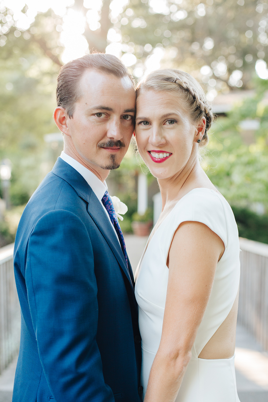 Sunset wedding photos of bride and groom at Marin Art and Garden Center in Marin California.