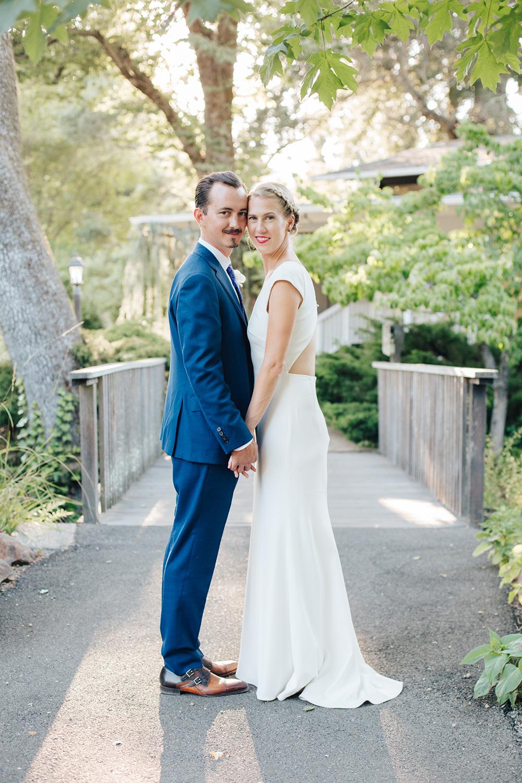 Bride and groom sunset wedding photos at Marin Art and Garden Center in Marin California.