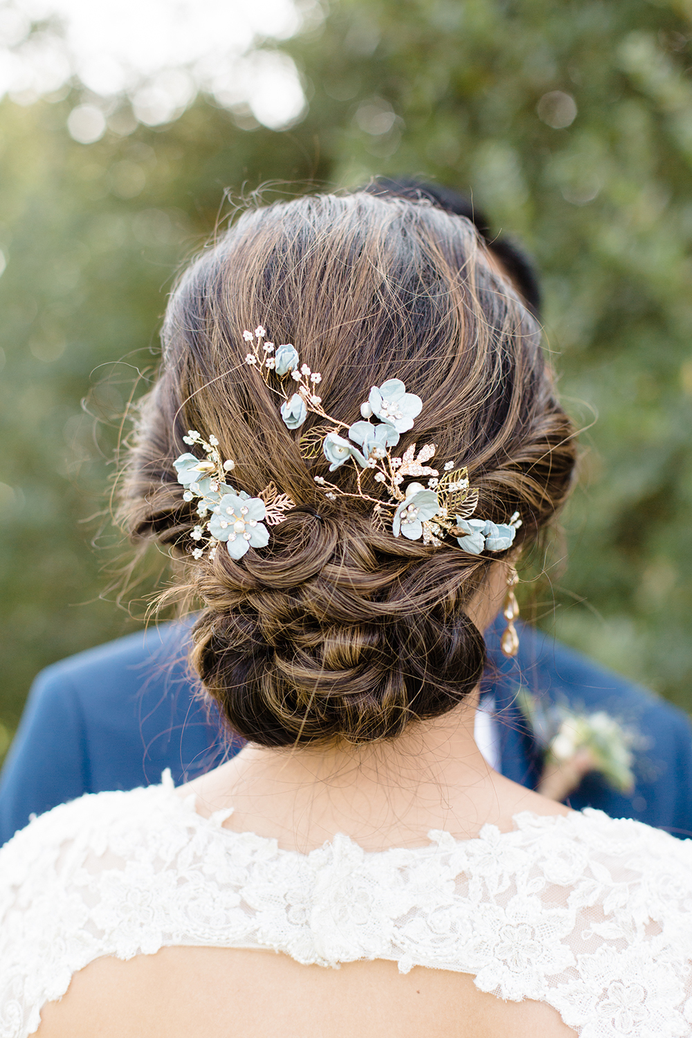wedding photography of bride hairstyle updo at eagle vines golf club in napa california