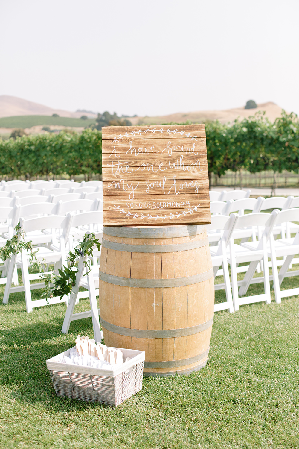 wedding photography of ceremony welcome sign at eagle vines golf club in napa california