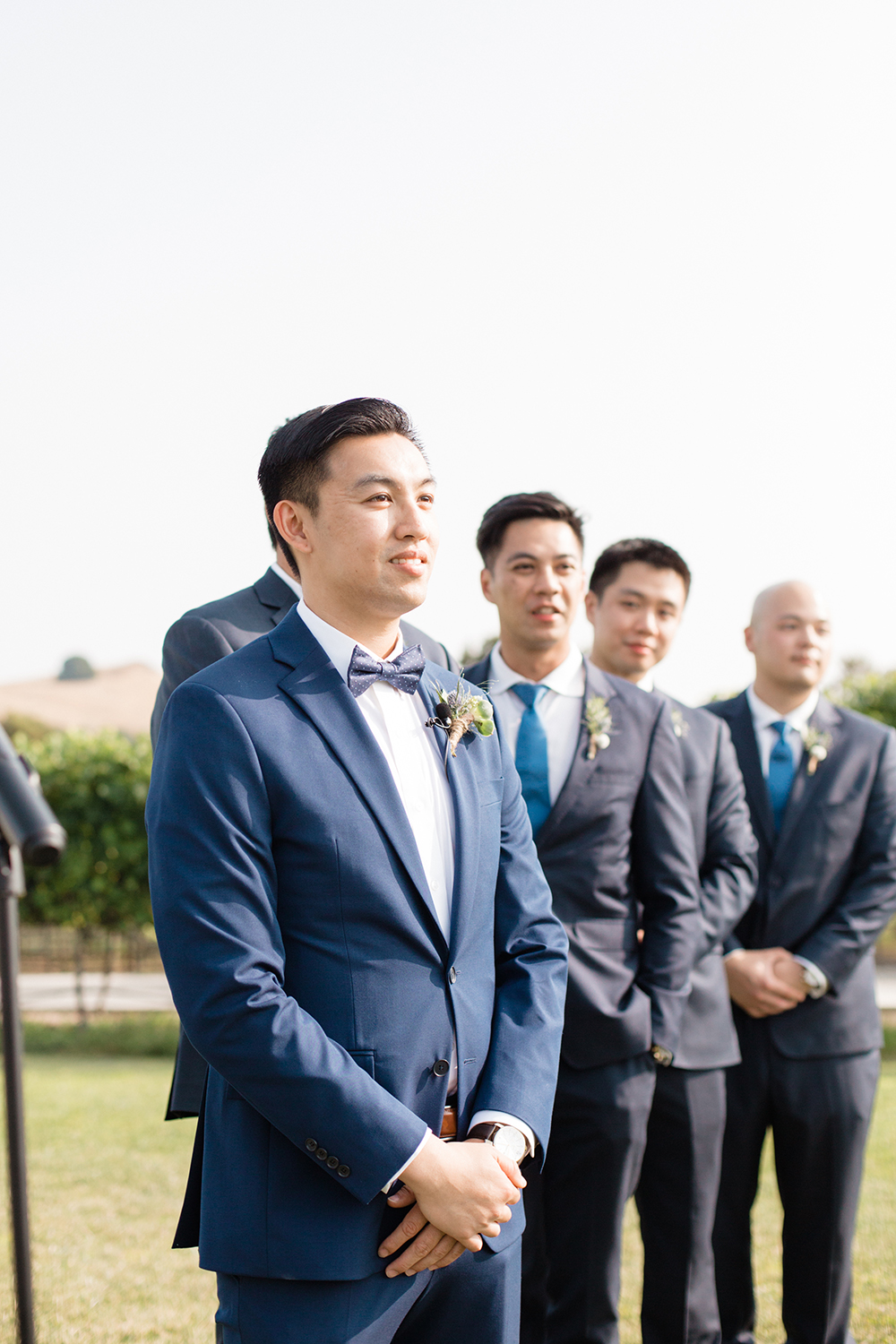 wedding photography of groom waiting at eagle vines golf club in napa california