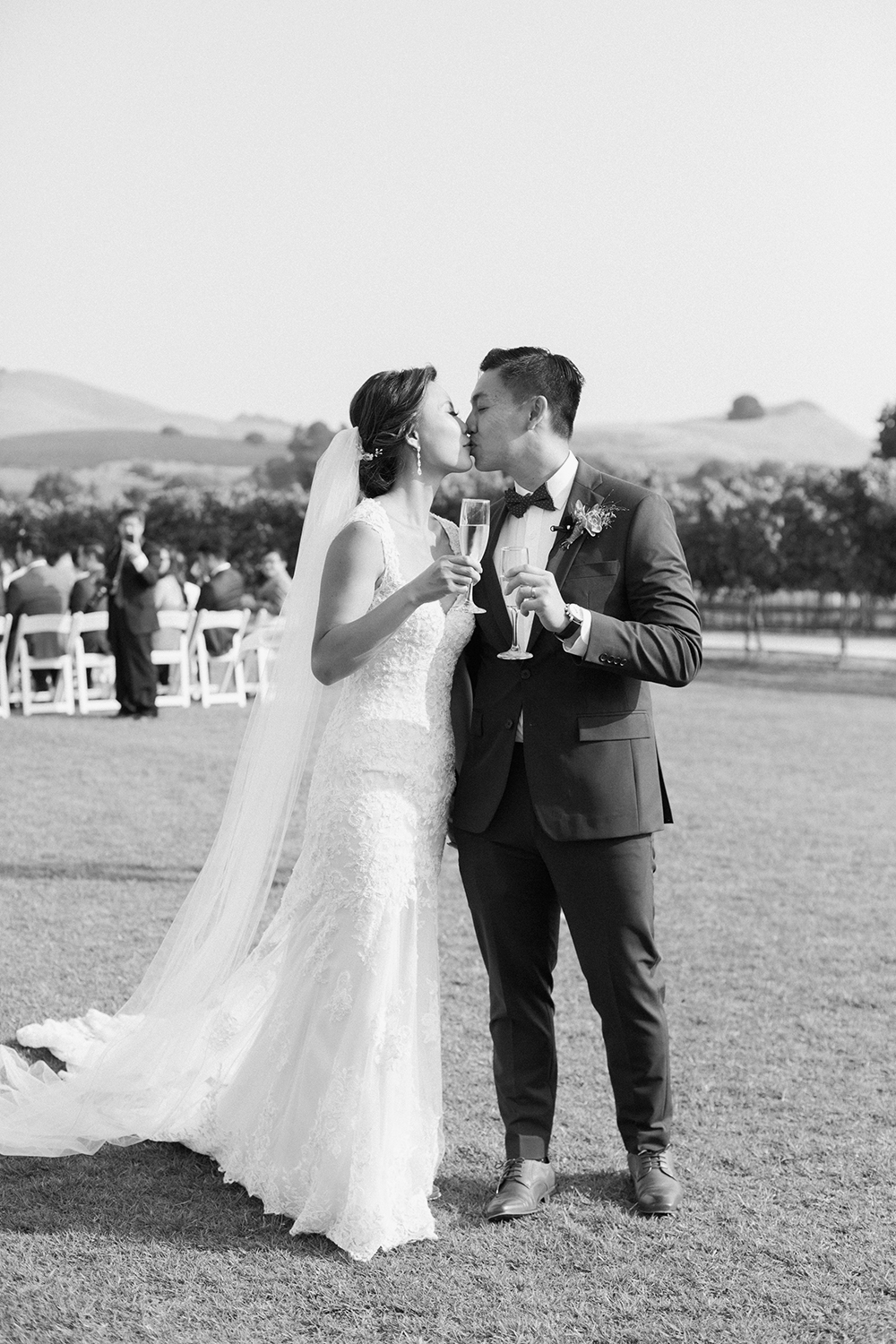 wedding photography of bride and groom kissing at eagle vines golf club in napa california