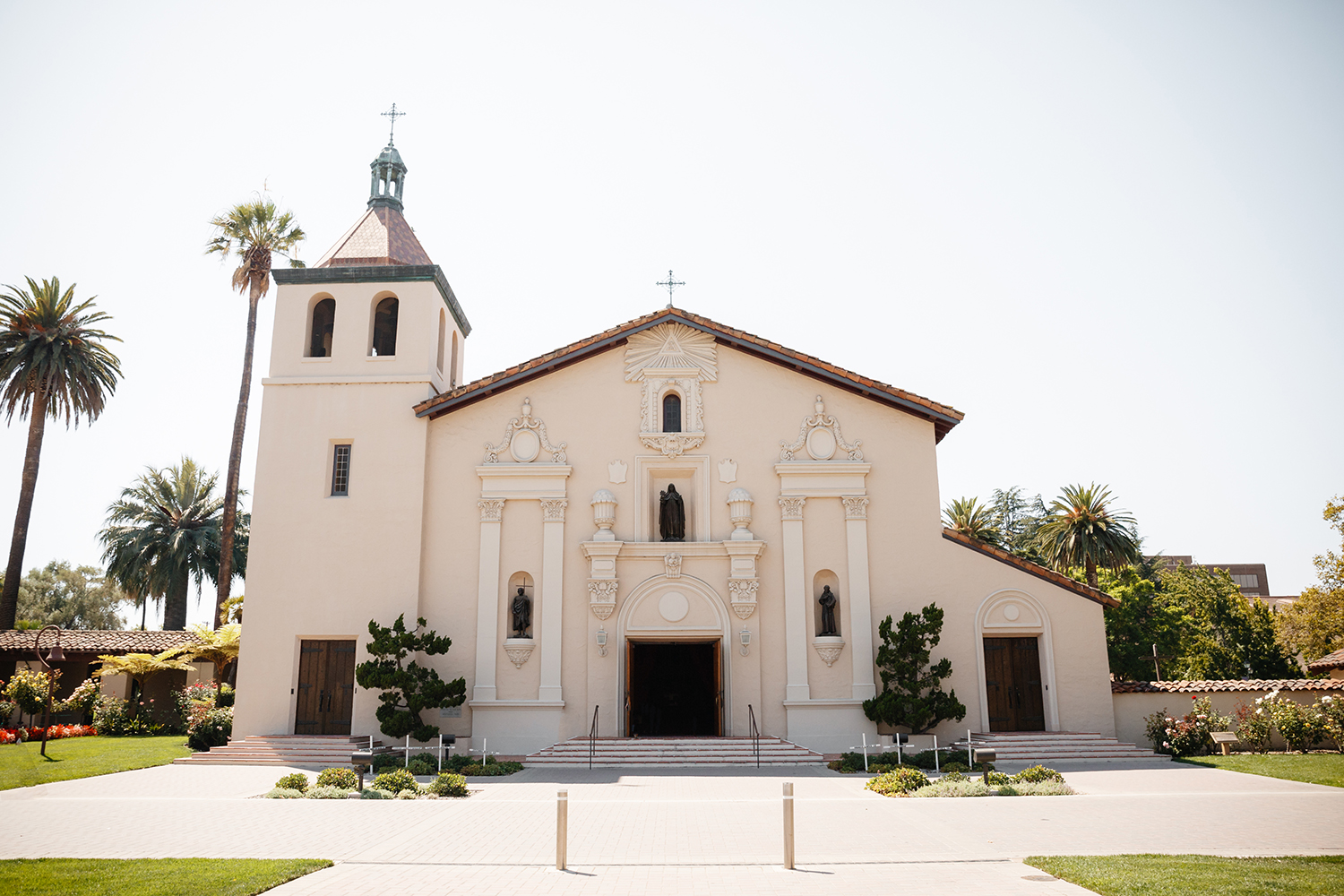 Outside of Mission Santa Clara de Asís in the Santa Clara University.