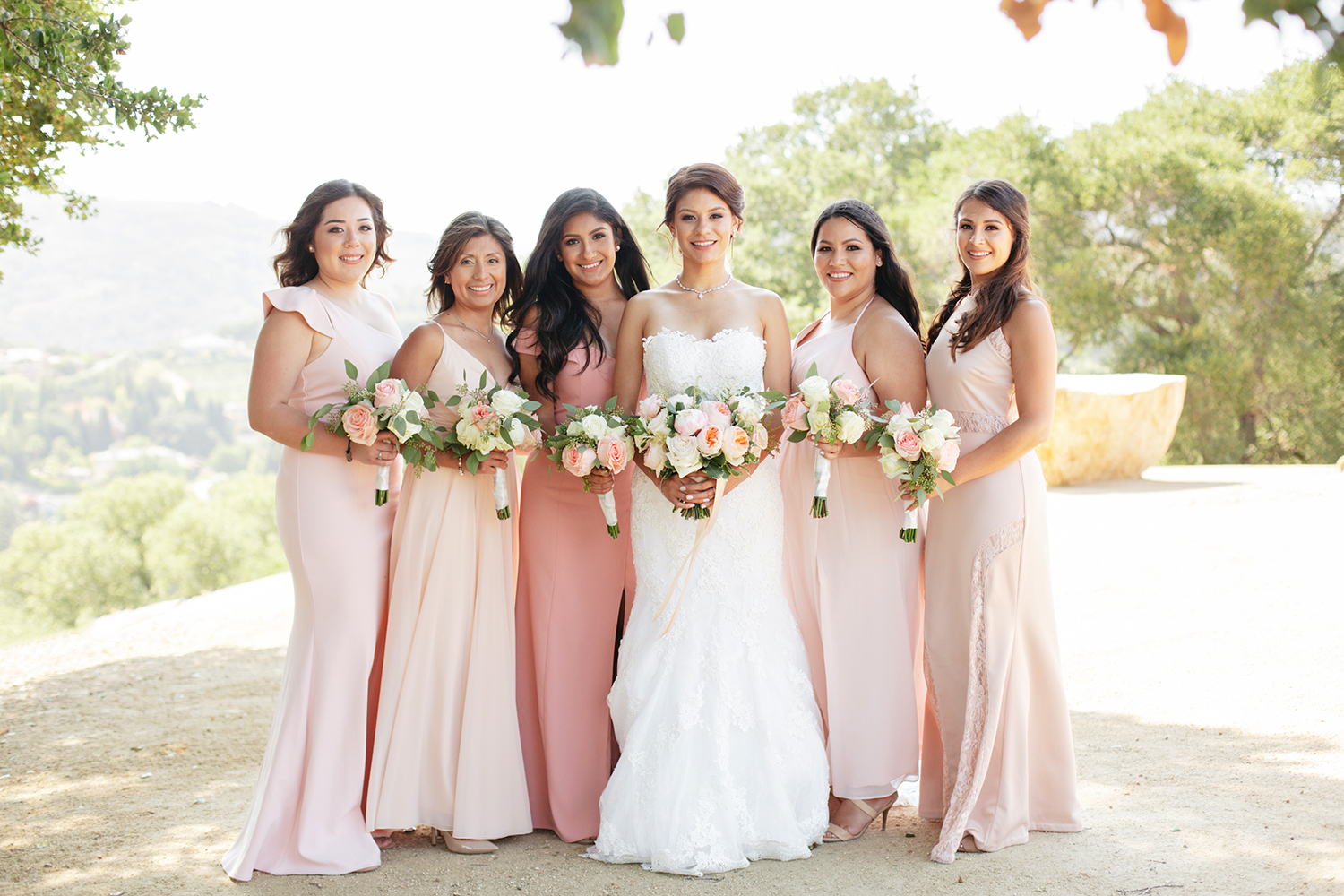 Bride and her five bridesmaids in their blush dresses in Saratoga Country Club.