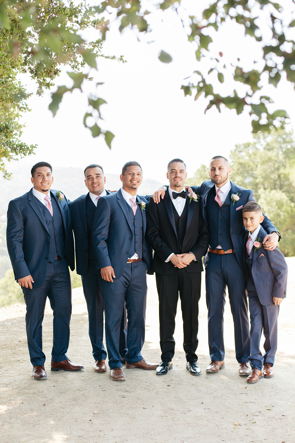 Groom with his groomsmen at a winery in Saratoga, California.