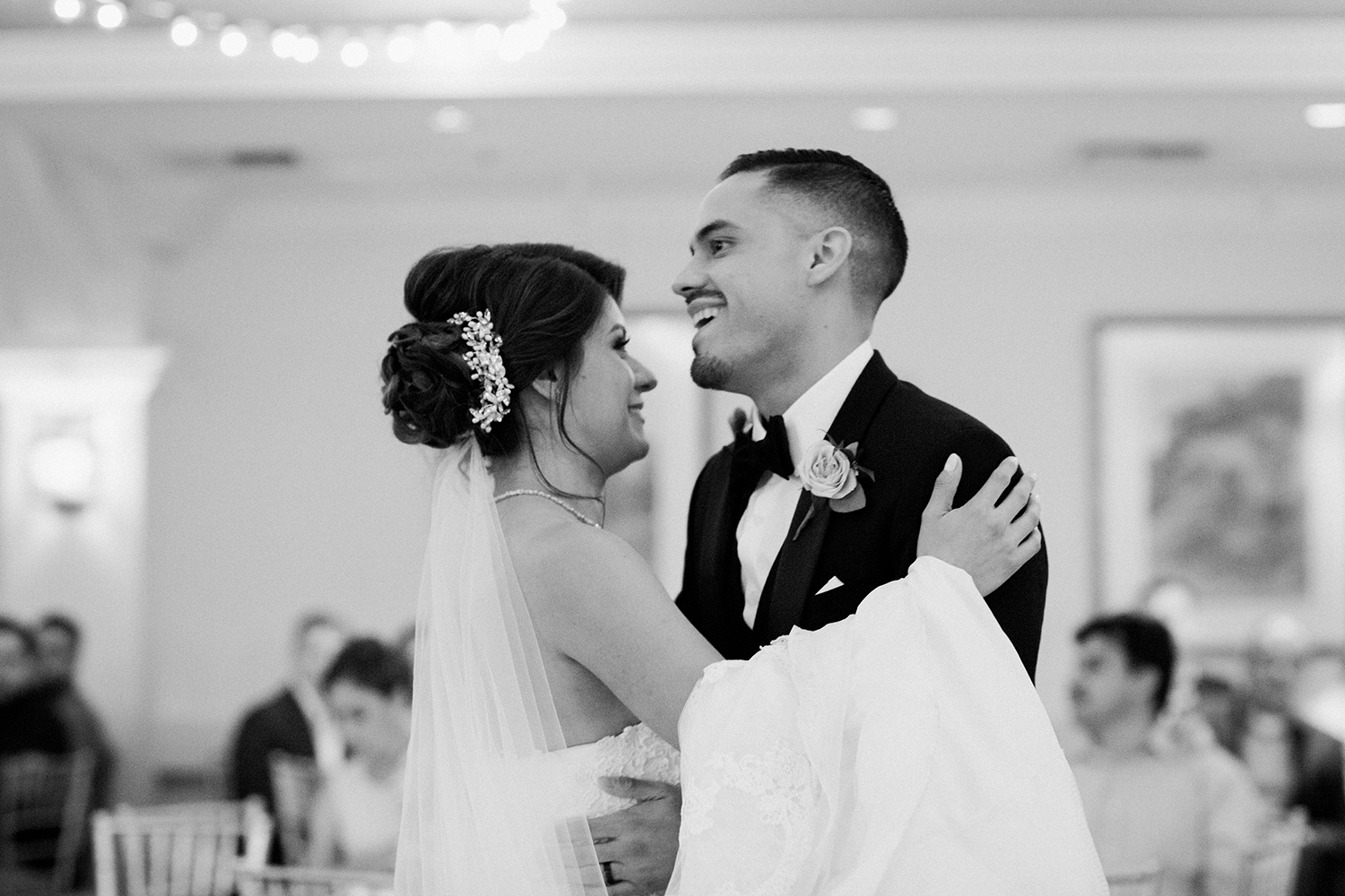 A bride and groom's romantic first dance.