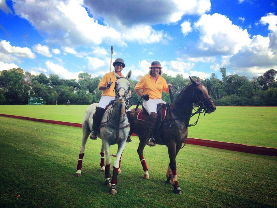 Chris Dawson & Avery Chapman at the USPA Governors' exhibition match, Houston Polo Club.