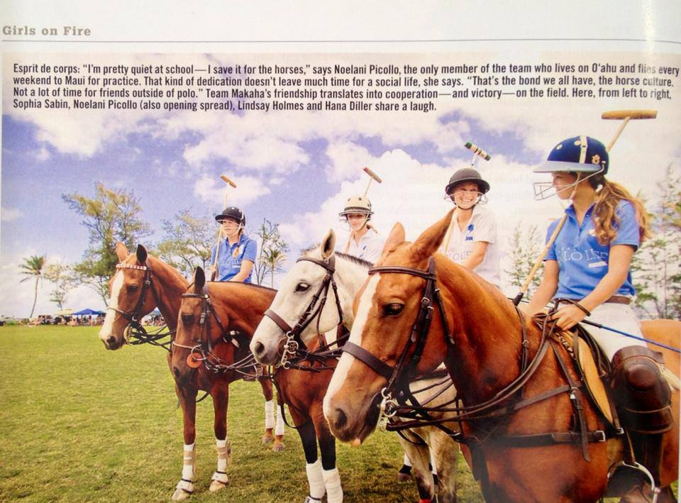 Sophia Sabin, Noelani Picollo, Lindsay Holmes and Hana Diller at the Hawaii Polo Life exhibition match on 5/19/2013. Thanks to Hana Hou! for highlighting these fierce young ladies!