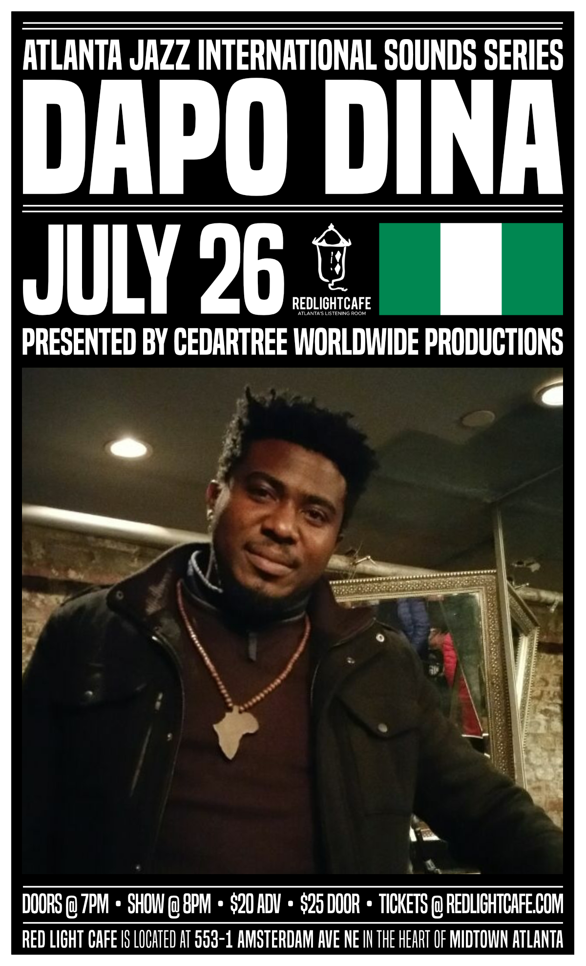Atlanta Jazz International Sounds Series: Dapo Dina — July 26, 2019 — Red Light Café, Atlanta, GA