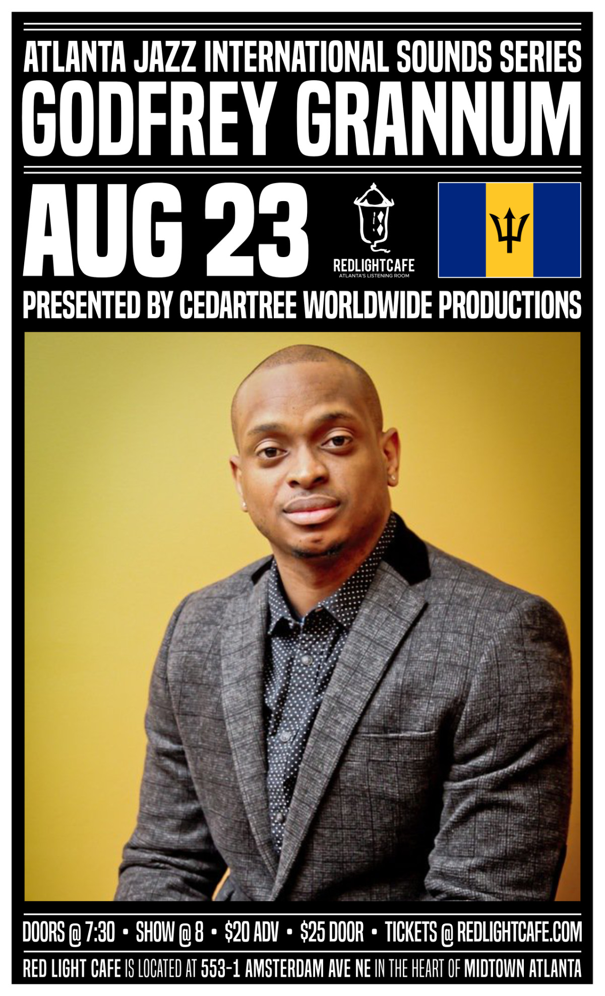 Atlanta Jazz International Sounds Series: Godfrey Grannum — August 23, 2019 — Red Light Café, Atlanta, GA