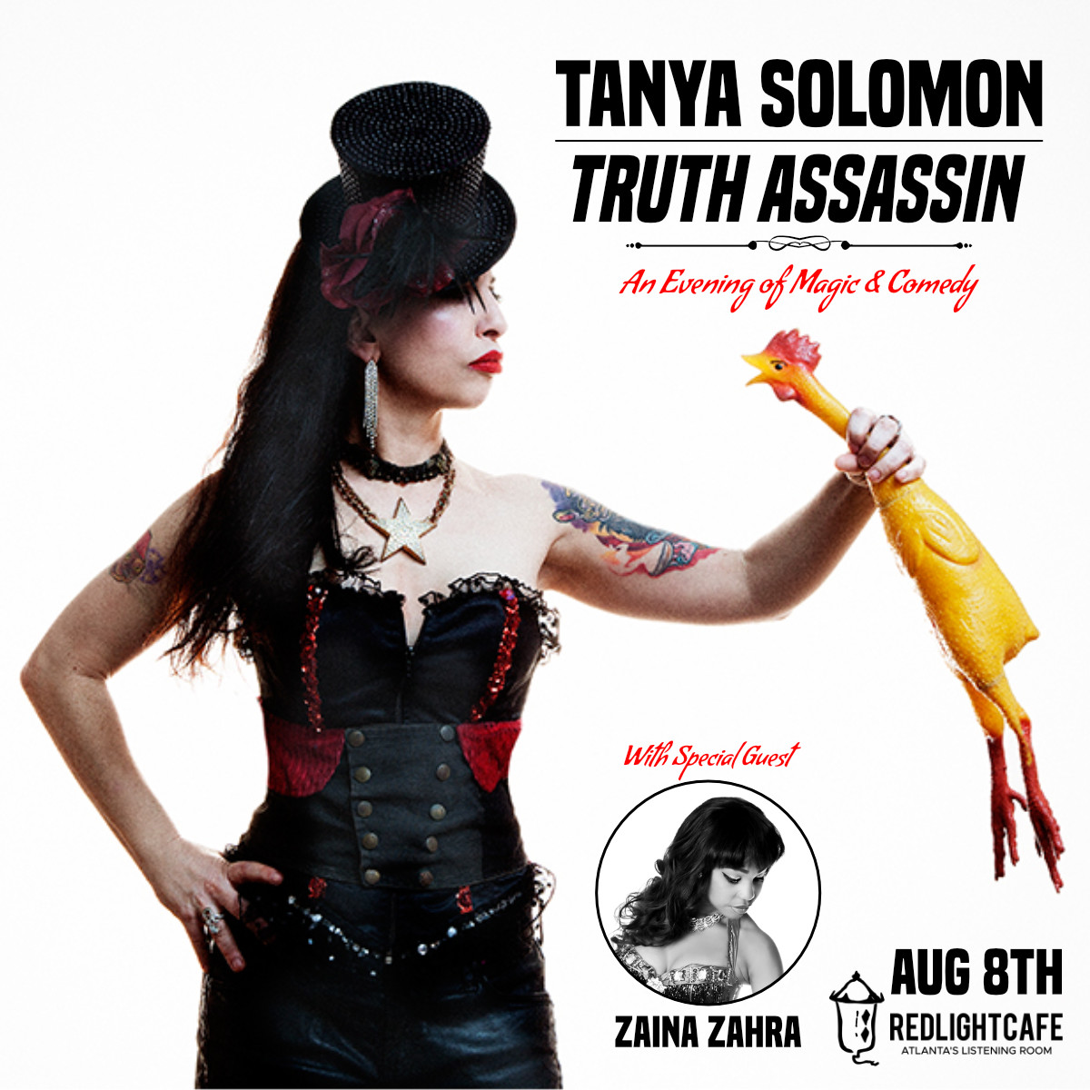 Tanya Solomon: Truth Assassin - A Night of Magic w/ special guest Zaina Zahra — August 8, 2019 — Red Light Café, Atlanta, GA