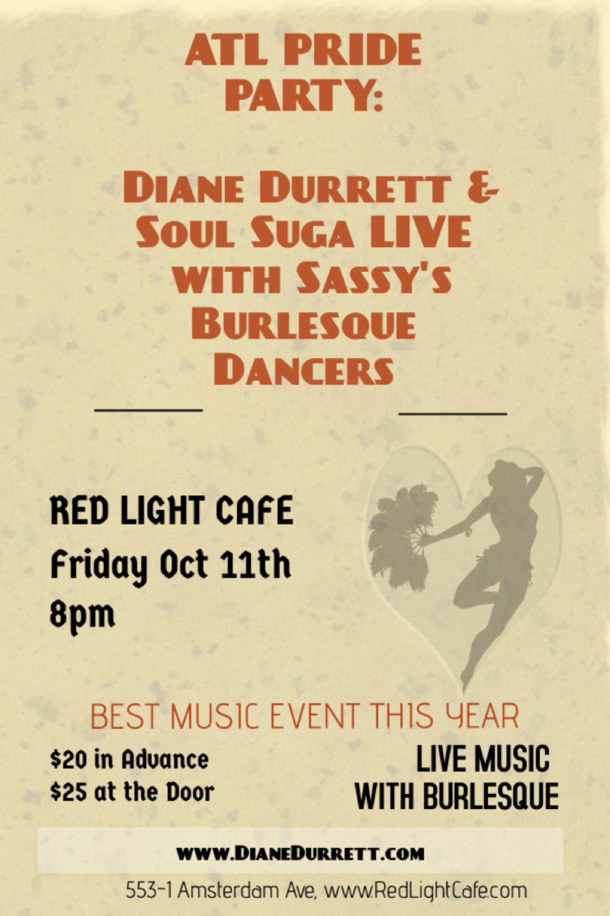 Atlanta Pride Party w/ Diane Durrett & Soul Suga + Sassy's Burlesque — October 11, 2019 — Red Light Café, Atlanta, GA