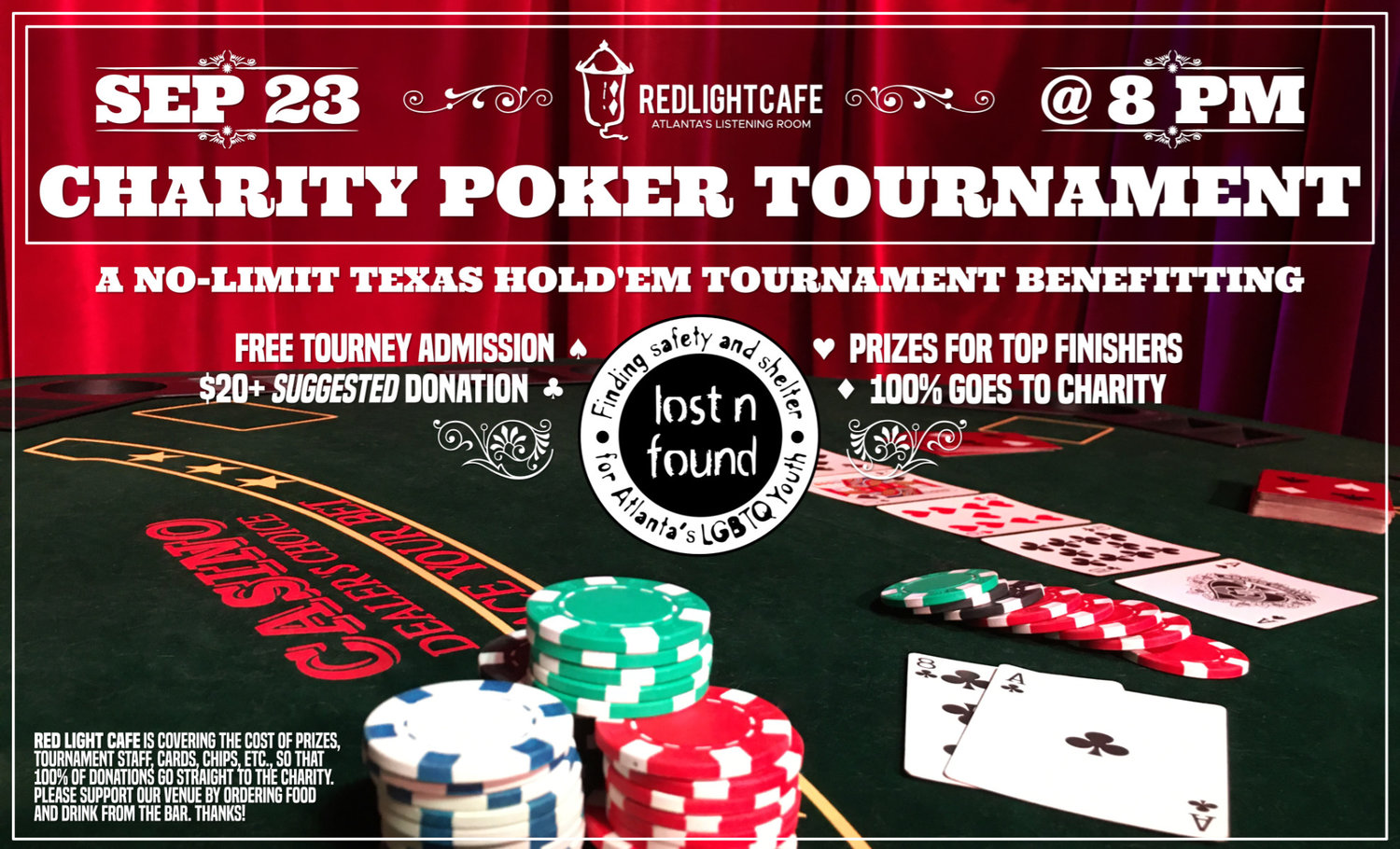 RLC Charity Poker Tournament for Lost-n-Found Youth — September 23, 2019 — Red Light Café, Atlanta, GA