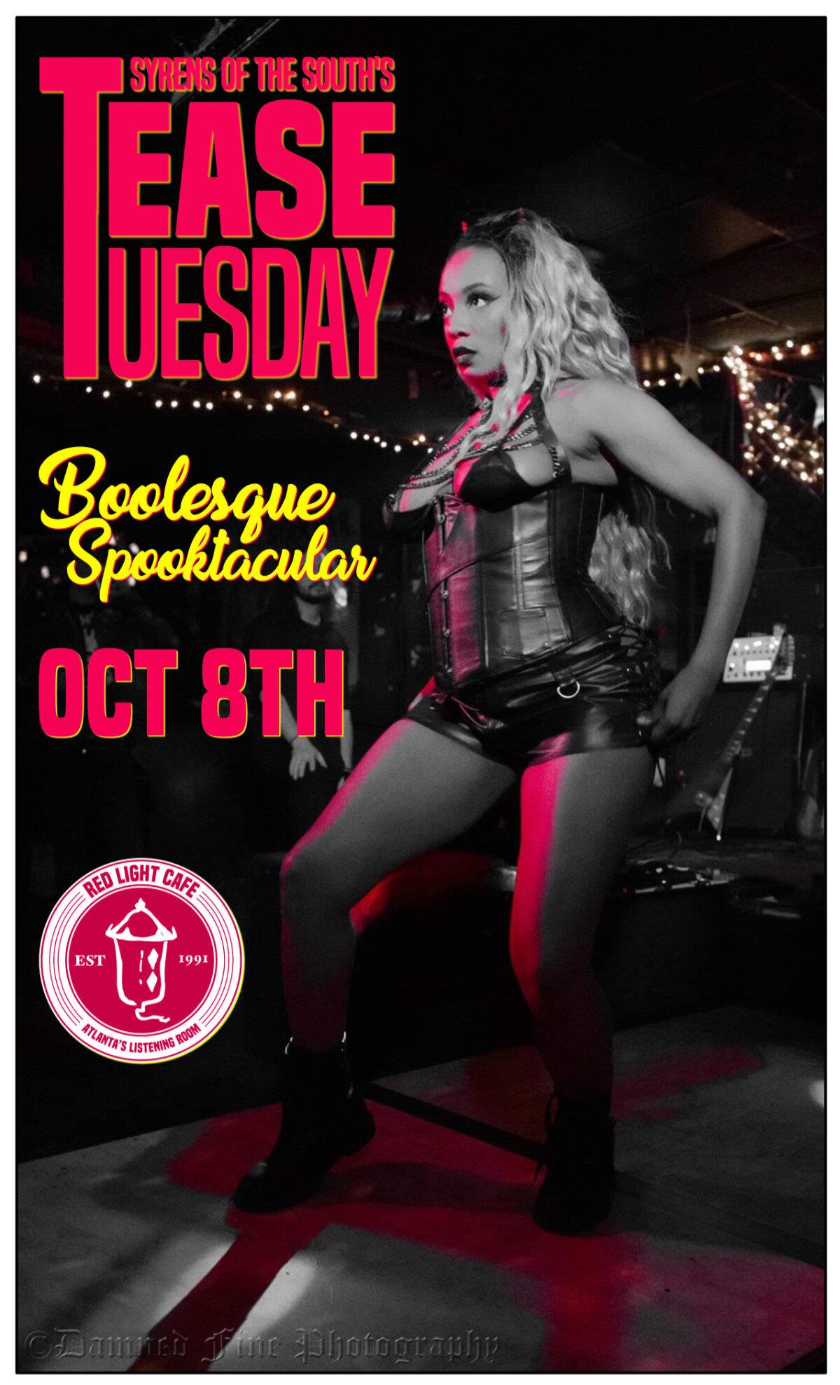 Tease Tuesday Burlesque Boolesque Spooktacular — October 8, 2019 — Red Light Café, Atlanta, GA