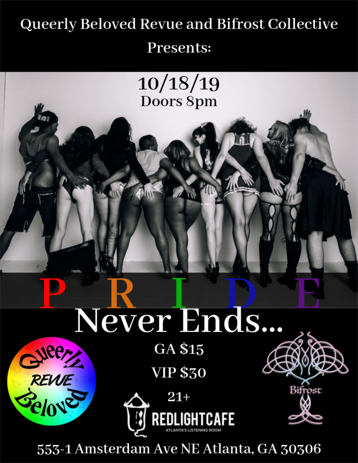Pride Never Ends!!! presented by Queerly Beloved Revue + Bifrost Collective — October 18, 2019 — Red Light Café, Atlanta, GA