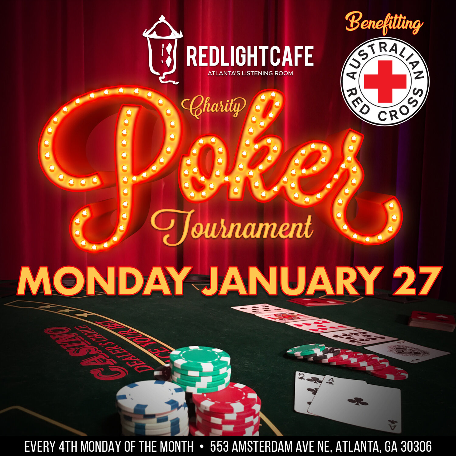 RLC Charity Poker Tournament: Australian Red Cross — January 27, 2020 — Red Light Café, Atlanta, GA