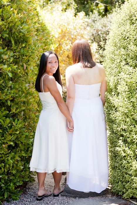 bride looking over shoulder at elopement