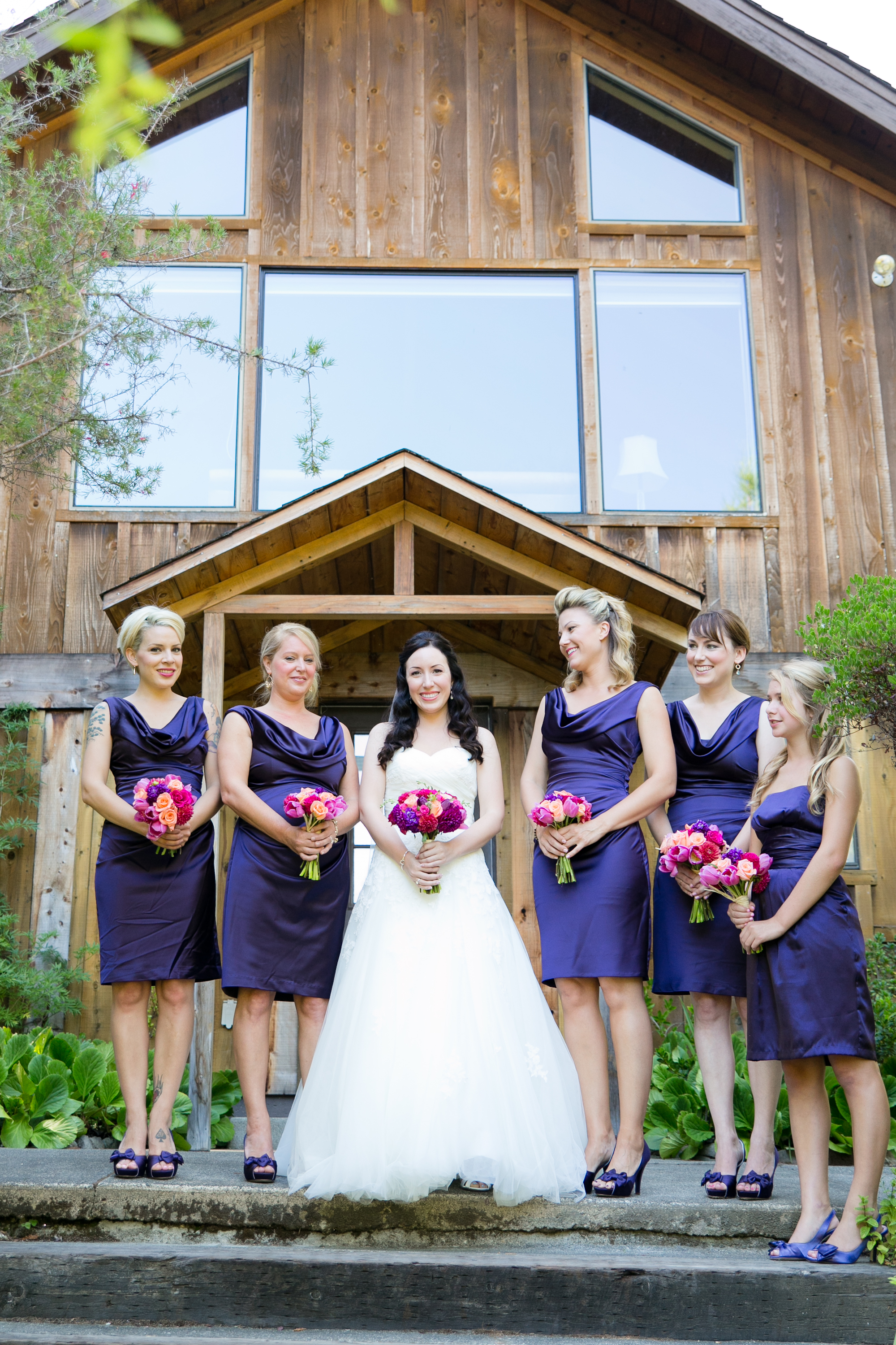 Bride and bridesmaids at redwood hill gardens