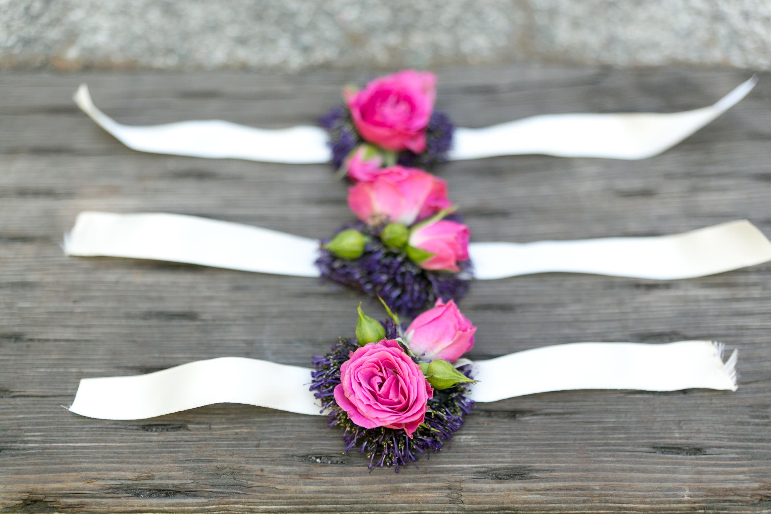 pink corsage by wild orchid florist sebastopol wedding