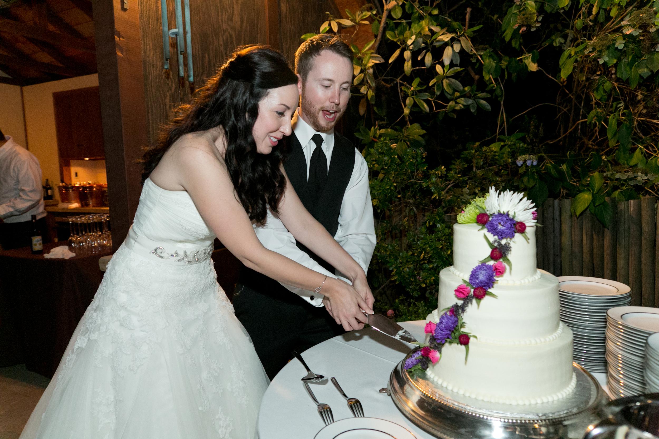 bride and groom cutting cake at sebastopol wedding