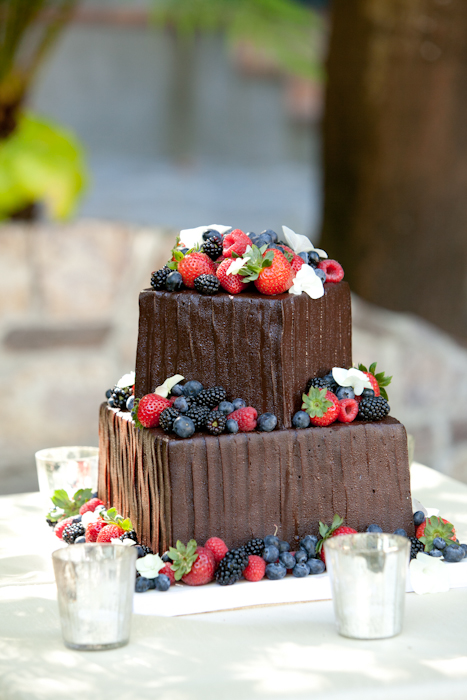chocolate wedding cake with berries