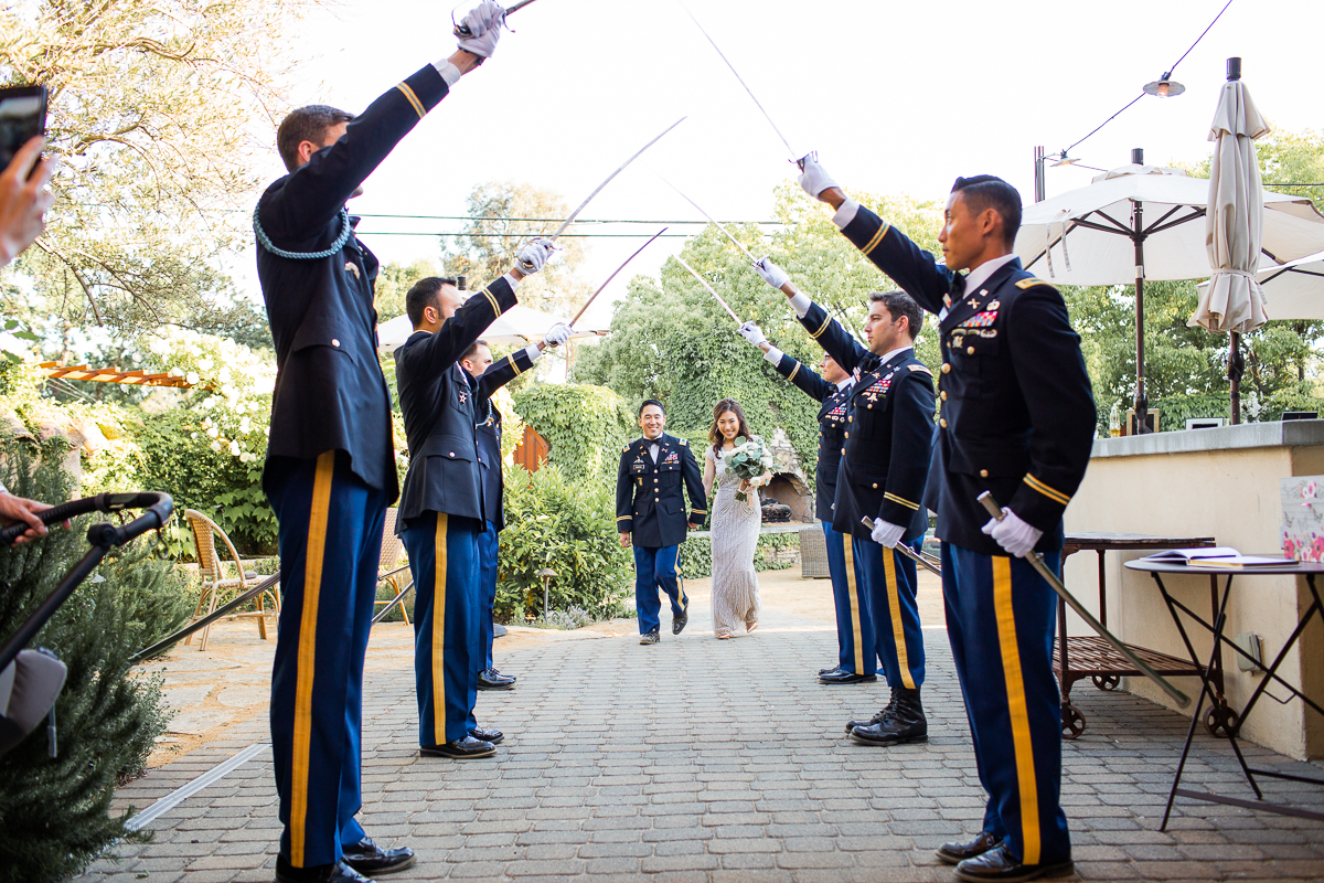 army sword salute at sonoma wedding