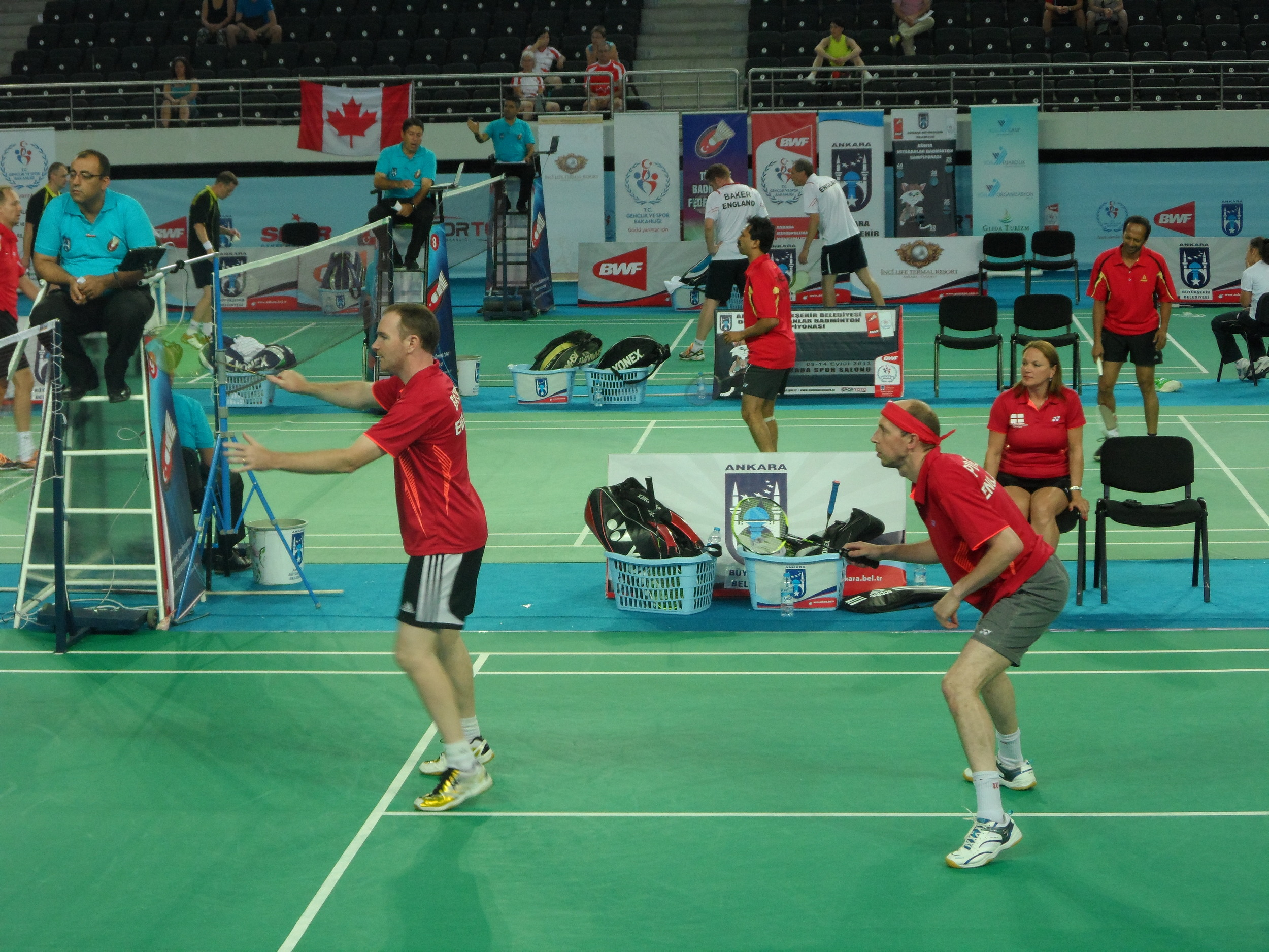Daniel Bates and Neil Place at the BWF World Masters Championships.