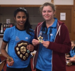 Chanumi Gamage and Hannah Milton  Winners: Cambs U15 Restricted Girls Doubles