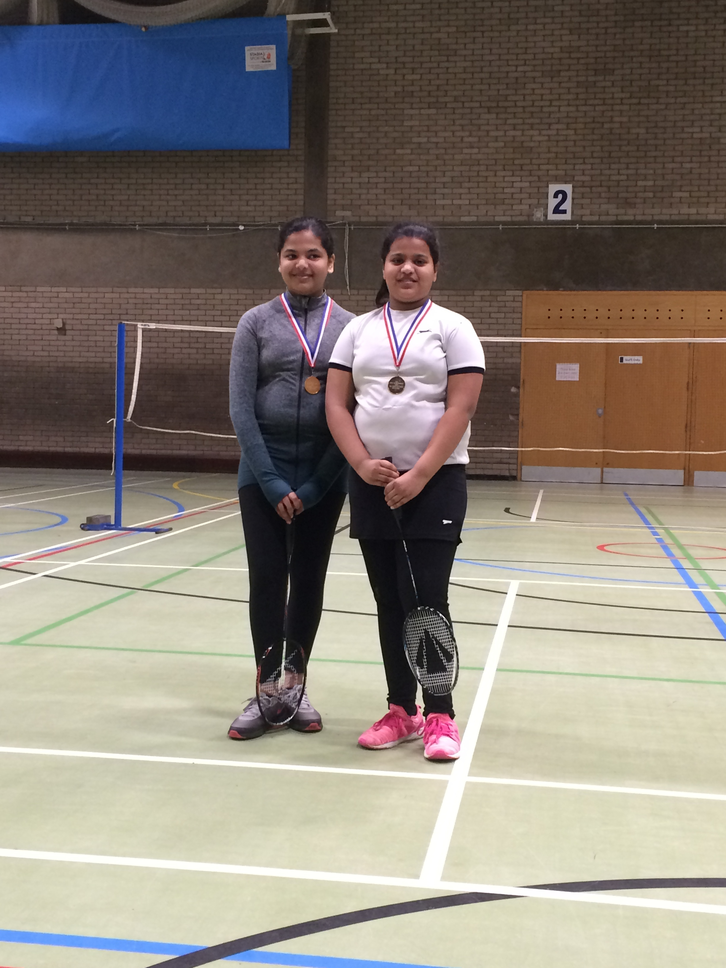 U11 & u13 girls doubles winners: Niveditha Kesavaraj/Kasuma Anchi