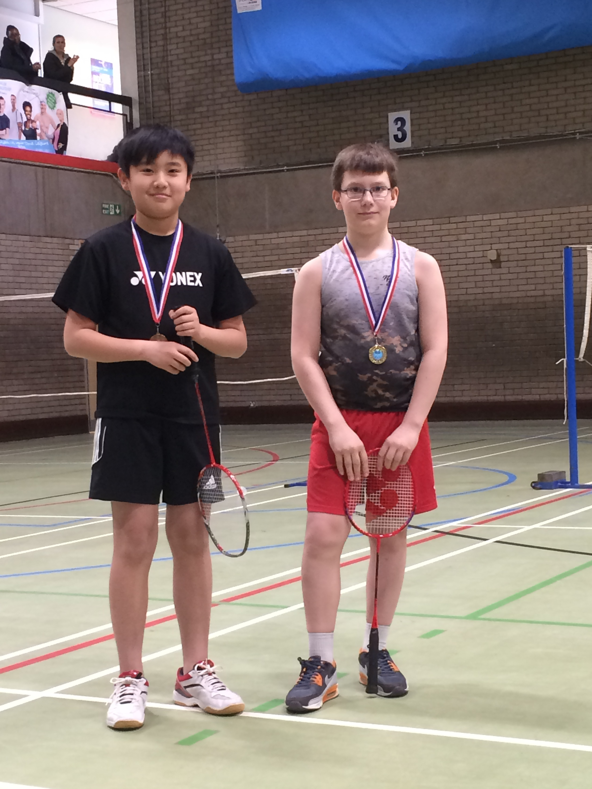 U13 boys doubles winners: Zihong He/Ashley Cole
