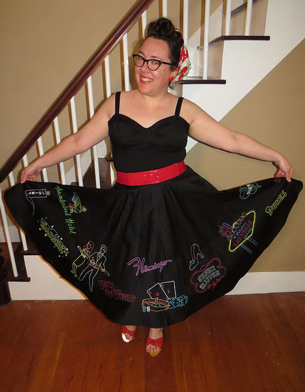Twirling in my newly finished skirt.