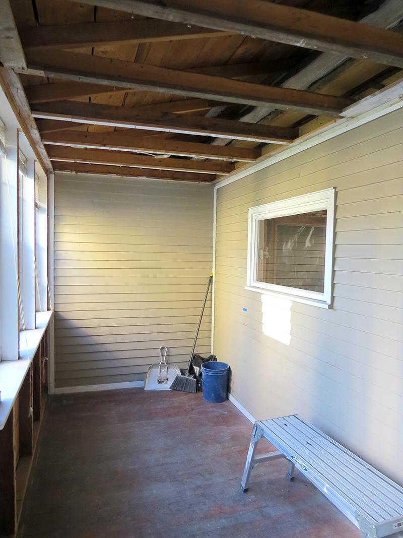 Porch ceiling removed