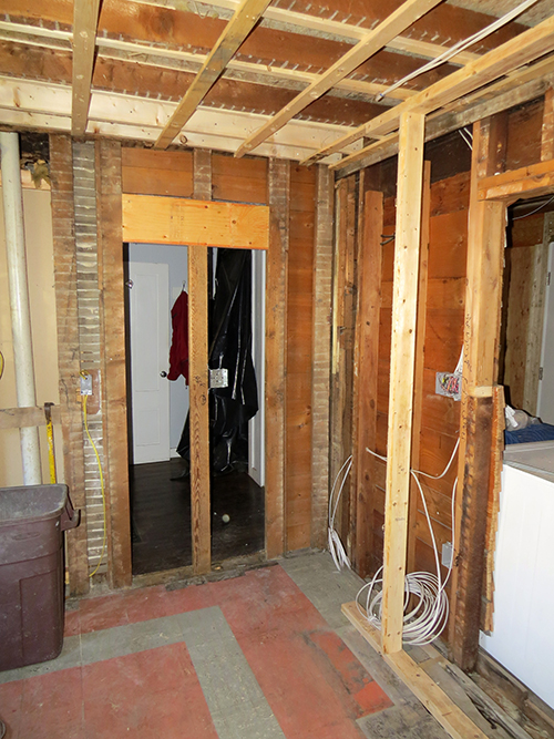 Old doorway to the bathroom closed off