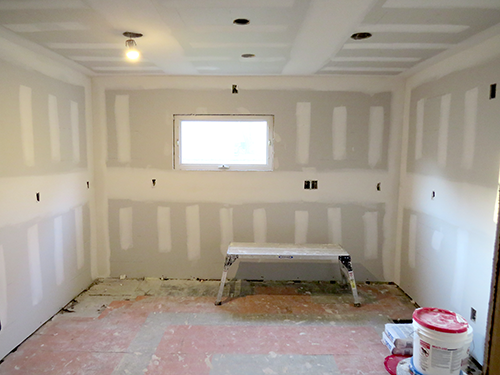 Kitchen with new drywall.