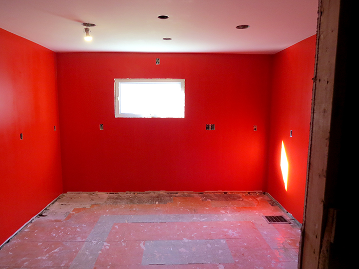 Neon Red, by Benjamin Moore.  Trust me, this is not too red!