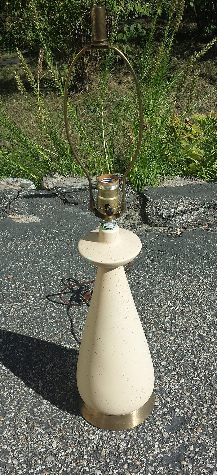 The lamp with the latex paint removed