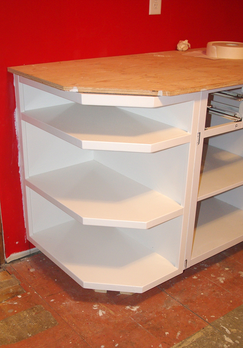 Our amazing new end shelf, built by Norm.