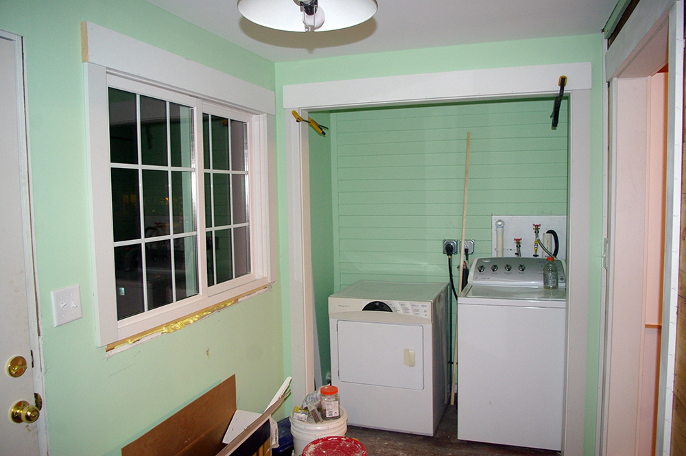 The new laundry room. Doors will be added, eventually.