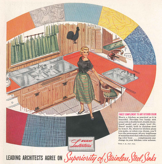 This ad from the 50s shows a double sink version of the sink we bought. This sink also has an integrated backsplash which ours does not have.