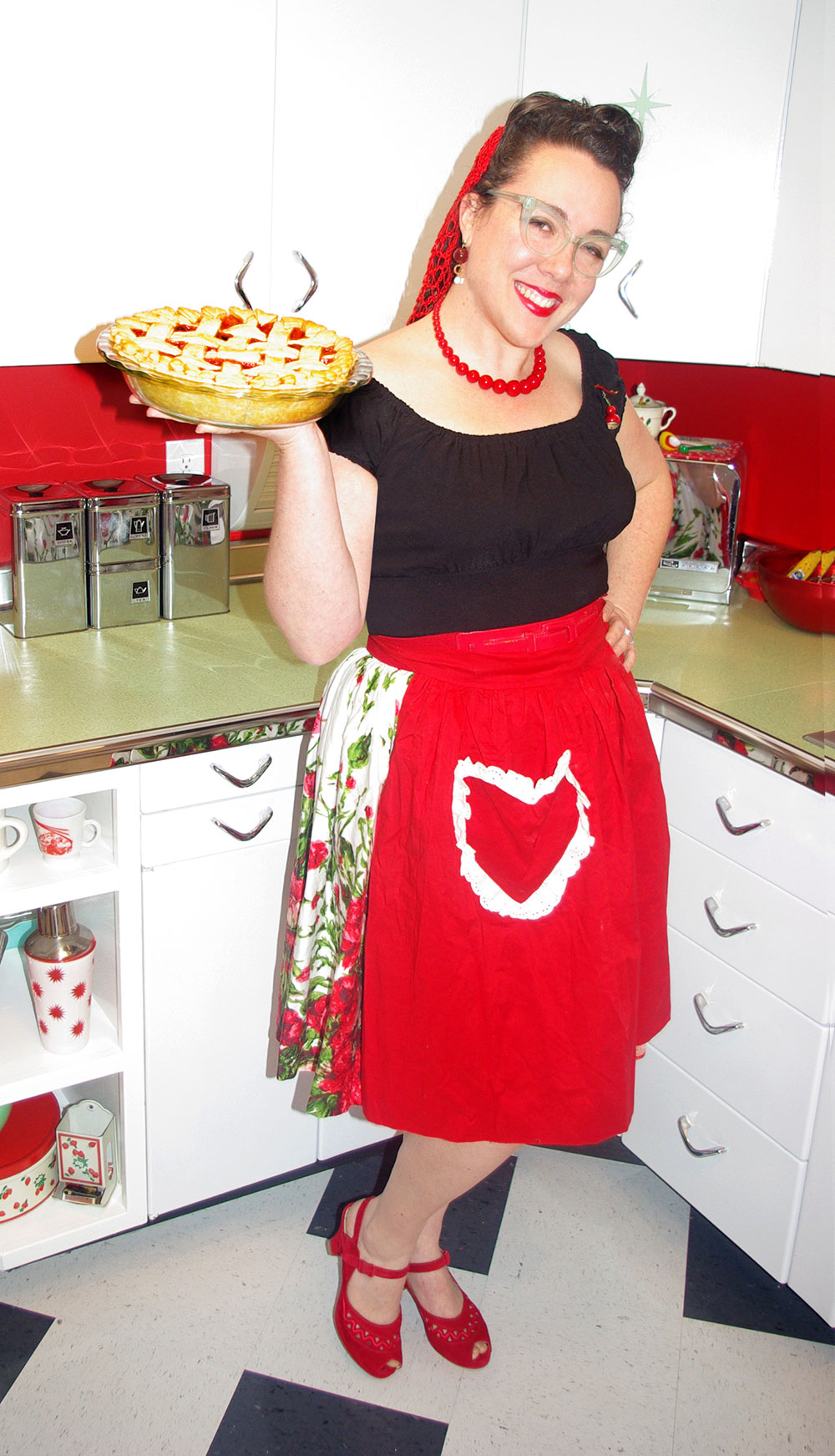 Always looking for a reason to dress up! I'd say spanking new kitchen and pie is as good a reason as any.