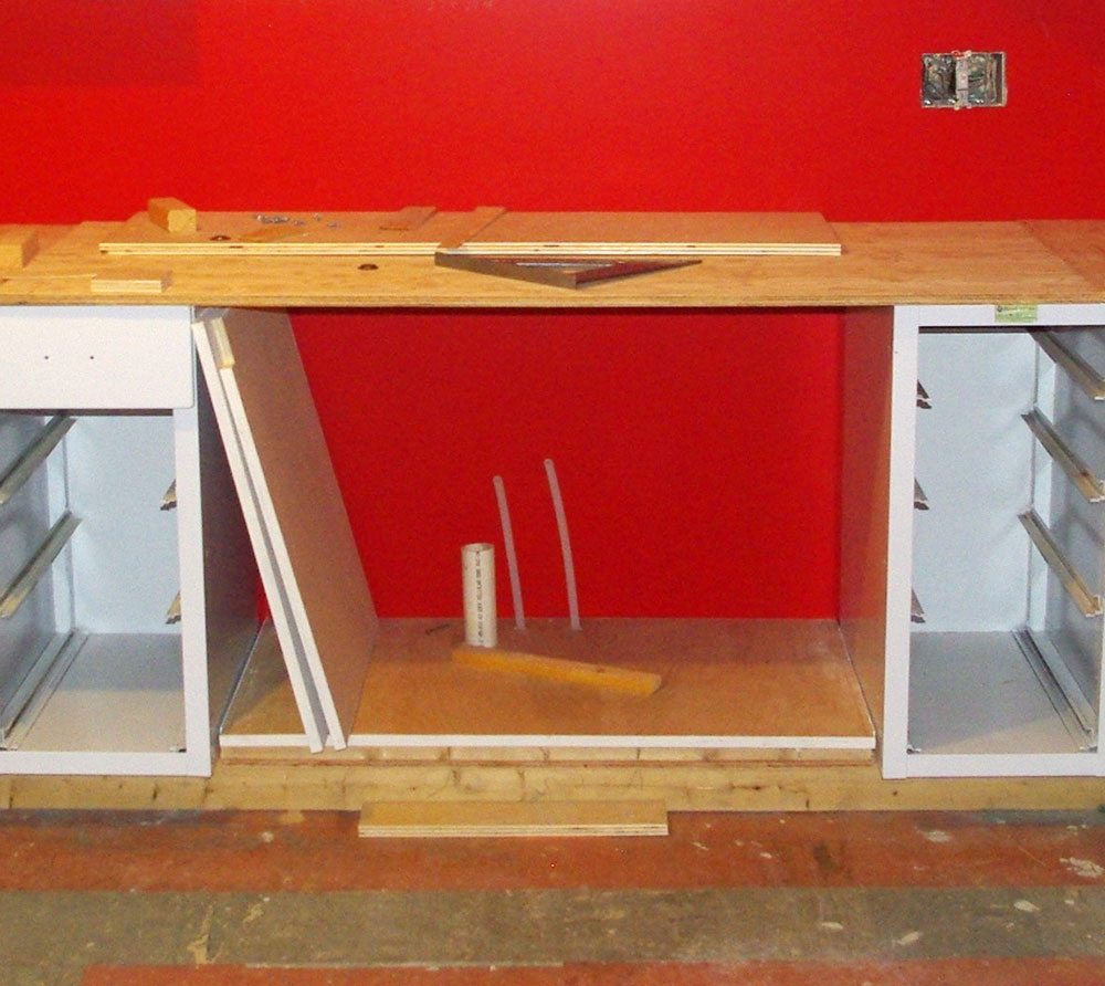 Custom wooden sink base, during construction