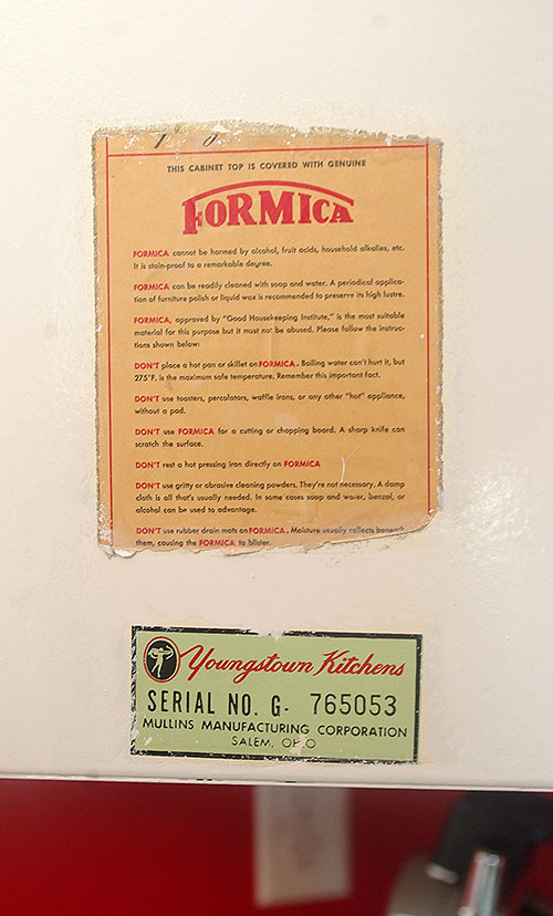 Orignal Formica and Youngstown Kitchen labels.